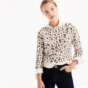 J. Crew Leopard Print Pullover Sweatshirt sz S